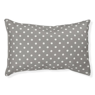 Pets Bed - Grey with White Polka Dots