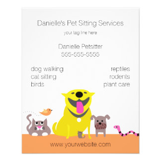 Pets: Dog Cat Bird Mouse Fish Snake Personalized Flyer