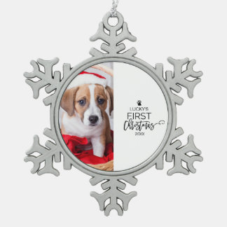 Pet's First Christmas Photo Holiday Snowflake Pewter Christmas Ornament