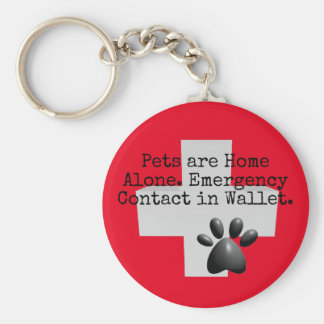 Pets Home Alone ICE Contact Basic Round Button Key Ring