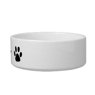 Pet's Name Paw Print Dog Cat Pet Bowl