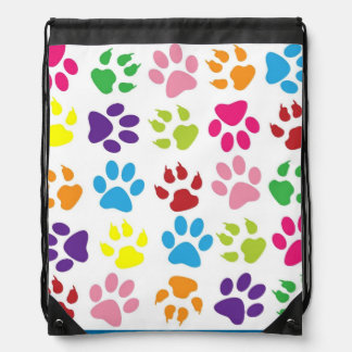 Pets paw print pattern drawstring bag
