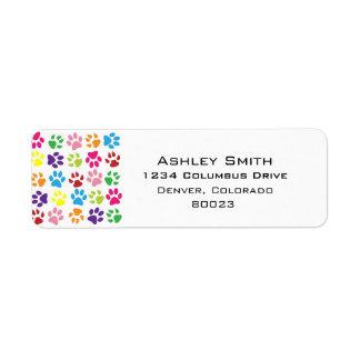 Pets paw print pattern return address label