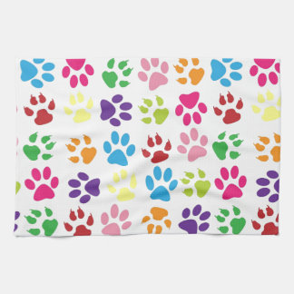 Pets paw print pattern tea towel