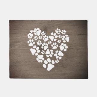 Pets' Paw Prints Heart Doormat