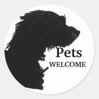 Pets Welcome Round Sticker