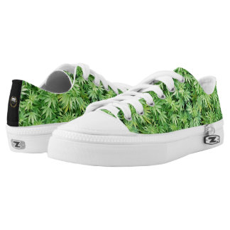 Petty Dynasty Weed Print Canvas Shoes. Low Tops
