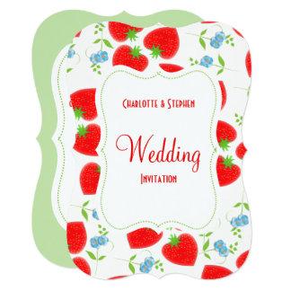 Petty Strawberries Flowers Editable Wedding Party Card