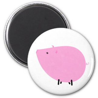 Petula the Pretty Pink Pig 6 Cm Round Magnet