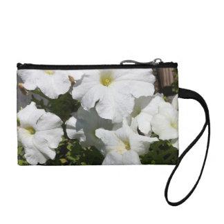 Petunia White Flower Change Purse