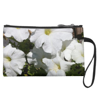 Petunia White Flower Wristlet Clutch