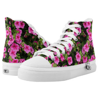 Petunias and lawn high tops