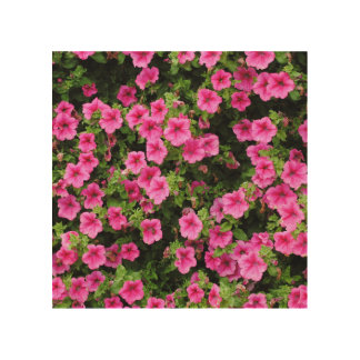 Petunias and lawn wood wall decor