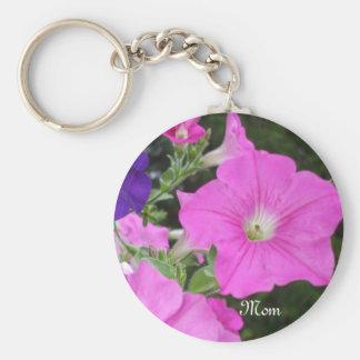 Petunias Basic Round Button Key Ring