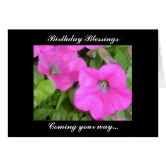 Petunias Birthday Blessings Card