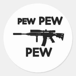 Pew pew gun classic round sticker