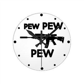 Pew pew gun round clock