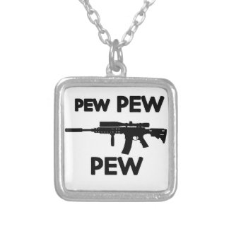 Pew pew gun silver plated necklace