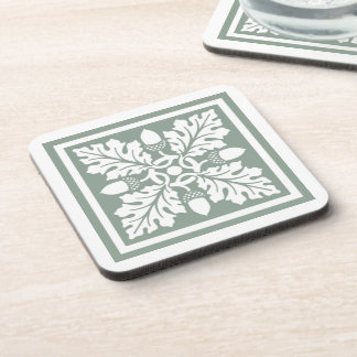 Pewter Acorn and Leaf Tile Design Coaster