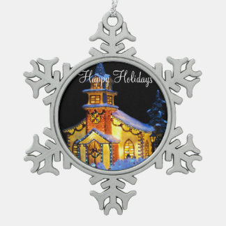 Pewter Christmas Ornaments With Christmas Church
