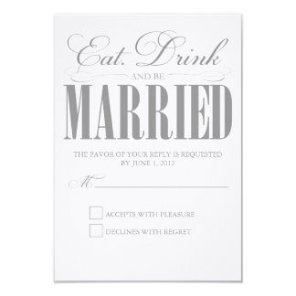Pewter Eat, Drink & Be Married | Response Card 9 Cm X 13 Cm Invitation Card