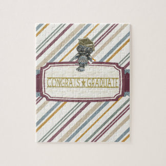 Pewter Look Owl Perched on Tags, Congrats Graduate Jigsaw Puzzle