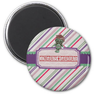 Pewter Look Owl Perched on Tags, Congrats Graduate Magnet