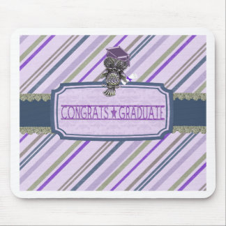 Pewter Look Owl Perched on Tags, Congrats Graduate Mouse Pad