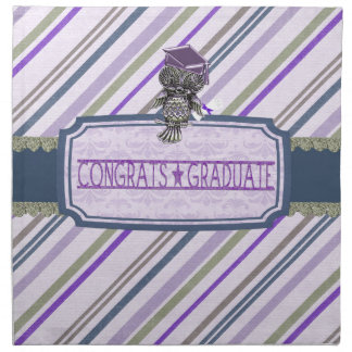 Pewter Look Owl Perched on Tags, Congrats Graduate Napkin