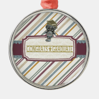 Pewter Look Owl Perched on Tags, Congrats Graduate Silver-Colored Round Decoration