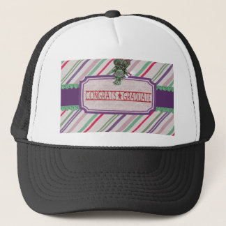 Pewter Look Owl Perched on Tags, Congrats Graduate Trucker Hat