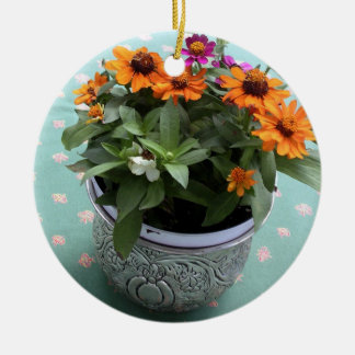 Pewter Pot Daisies Ceramic Ornament
