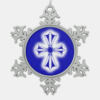 Pewter Snowflake Ornament/Blue Celtic Cross Snowflake Pewter Christmas Ornament