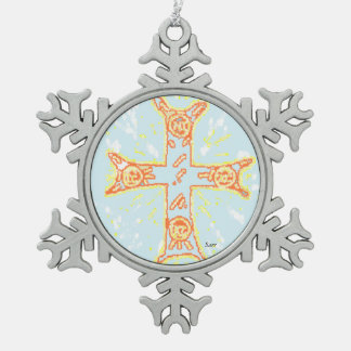 Pewter Snowflake Ornament  /Greek Cross