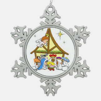 Pewter Snowflake Ornament/Nativity Snowflake Pewter Christmas Ornament