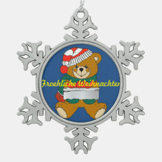 Pewter Snowflake Ornament Teddy Bear