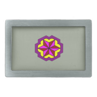Pewter-Star With Yellow Background Belt Buckle