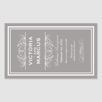 Pewter Wedding Wine Bottle Monogram Favor Labels Rectangular Sticker