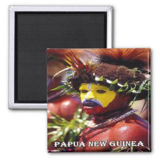 PG - Papua New Guinea - Huli Wigman Square Magnet