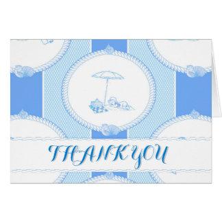 PH&D Beach Bums Baby Shower Thank You Card Blue