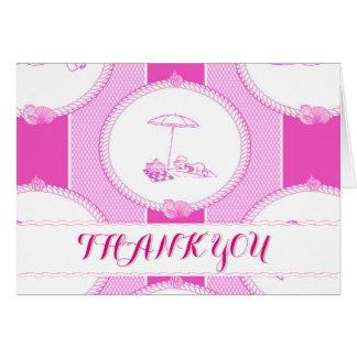 PH&D Beach Bums Baby Shower Thank You Card Pink