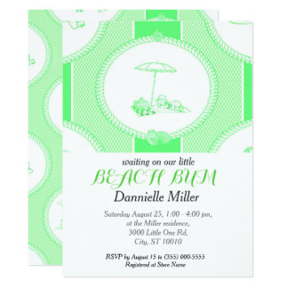 PH&D Beach Bums Baby Shower Toile Invitation Apple