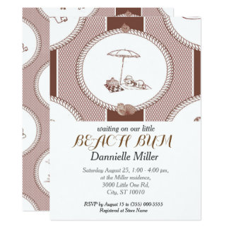 PH&D Beach Bums Baby Shower Toile Invitation Brown