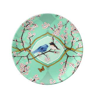 PH&D Bluebird Toile Decorative Plate Emerald Porcelain Plate
