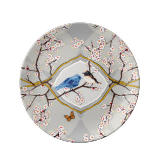 PH&D Bluebird Toile Decorative Plate Silver Porcelain Plate