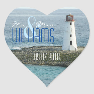 PH&D Wedding Heart Sticker New England Lighthouse