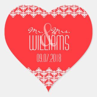PH&D Wedding Heart Sticker Red Damask