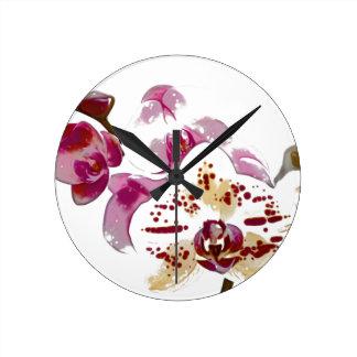 Phalaenopsis Orchid Flower Bouquet Round Clock