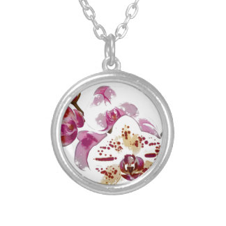 Phalaenopsis Orchid Flower Bouquet Silver Plated Necklace