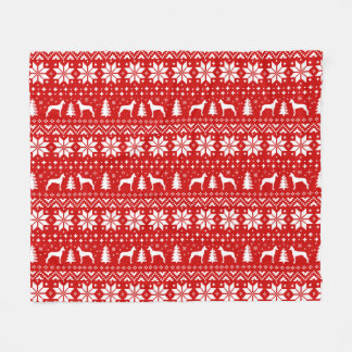 Pharaoh Hound Silhouettes Christmas Pattern Red Fleece Blanket